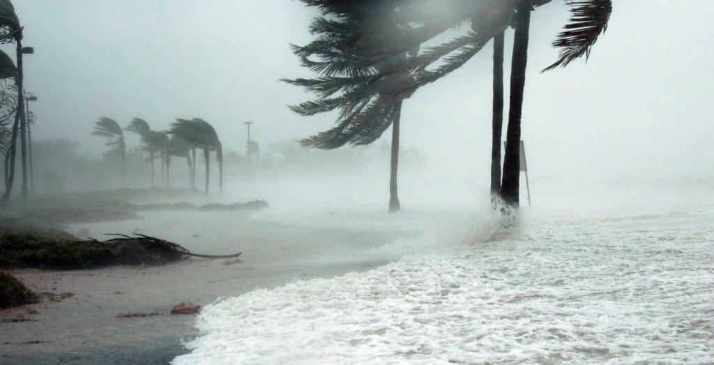 hurricane winds and high water trash Key West during Hurricane Irma